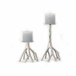 Polished Nickel Branch Candle Holders