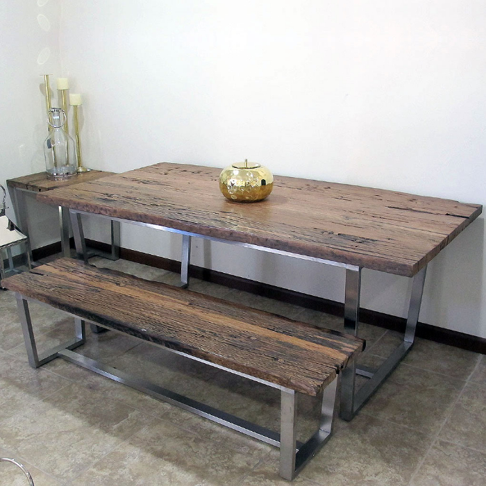 Made Of Stainless Steel And Railway Sleeper Wood Single Bench. Dining Table  Is Sold Separately. Some Assembly Required Ships Freight Only